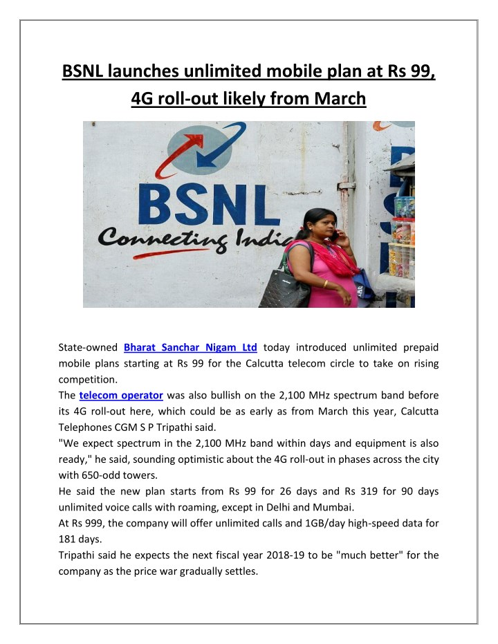 bsnl launches unlimited mobile plan n.