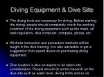 diving equipment dive site