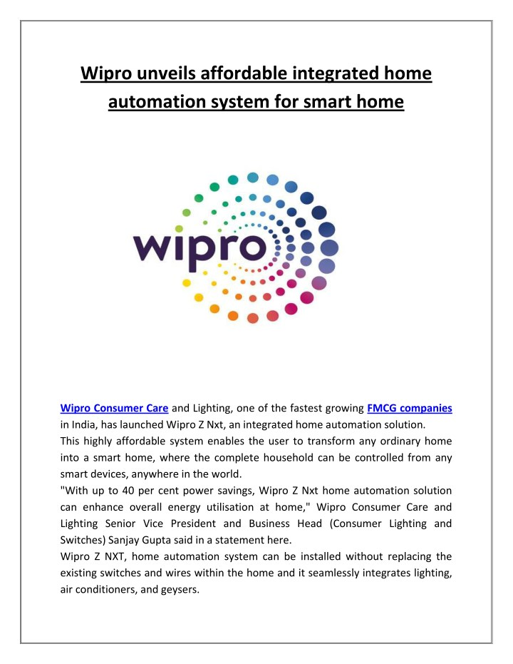 wipro unveils affordable integrated home n.