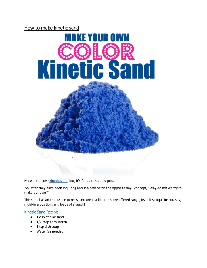 h how to make kinetic sand ow to make kinetic sand n.