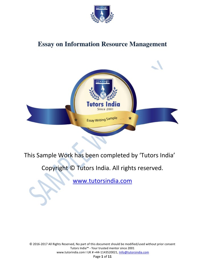 essay on information resource management n.
