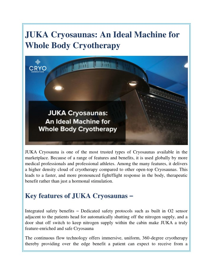 juka cryosaunas an ideal machine for whole body n.