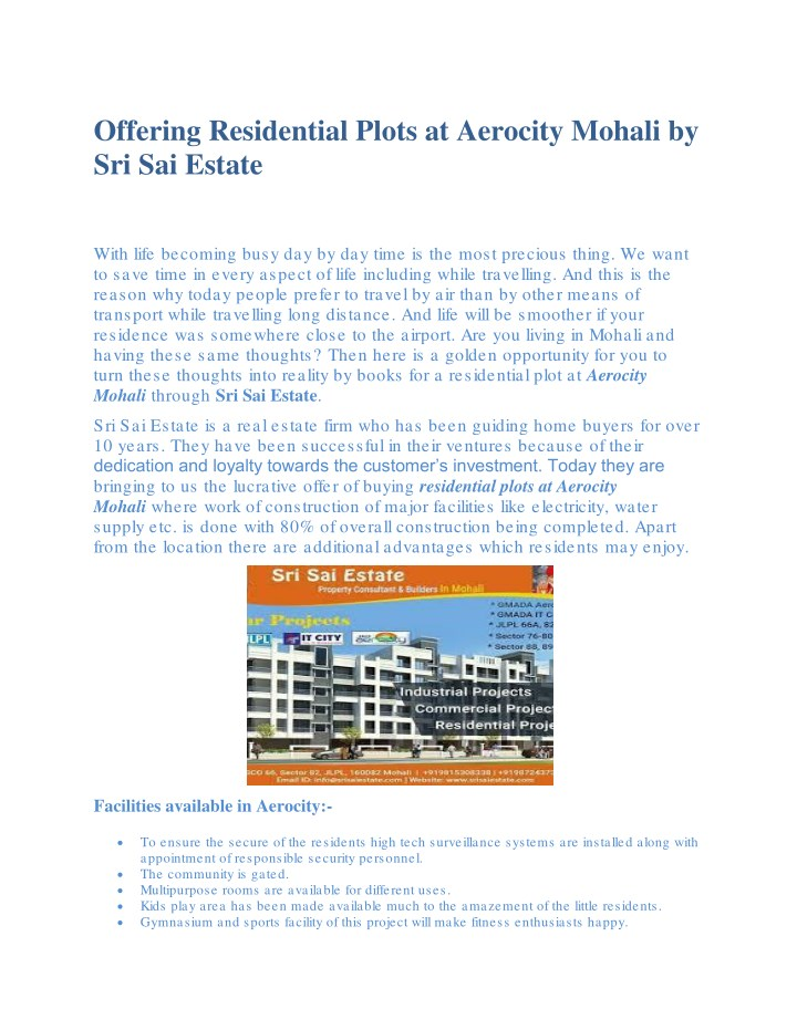 offering residential plots at aerocity mohali n.