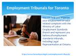 employment tribunals for toronto