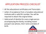 application process checklist