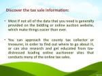 discover the tax sale information