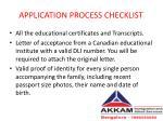 application process checklist