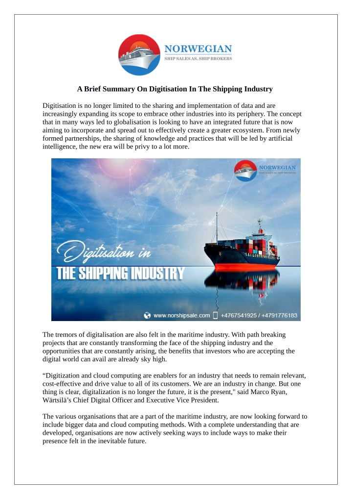a brief summary on digitisation in the shipping n.