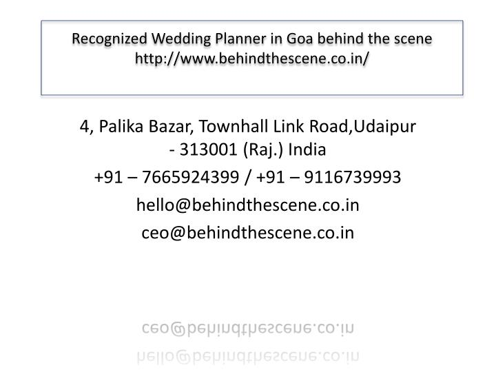 ppt recognized wedding planner in goa behind the scene powerpoint