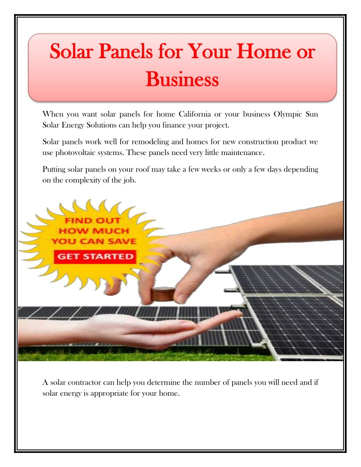 solar panels for your home or solar panels n.