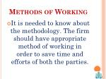 methods of working