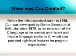when was c created