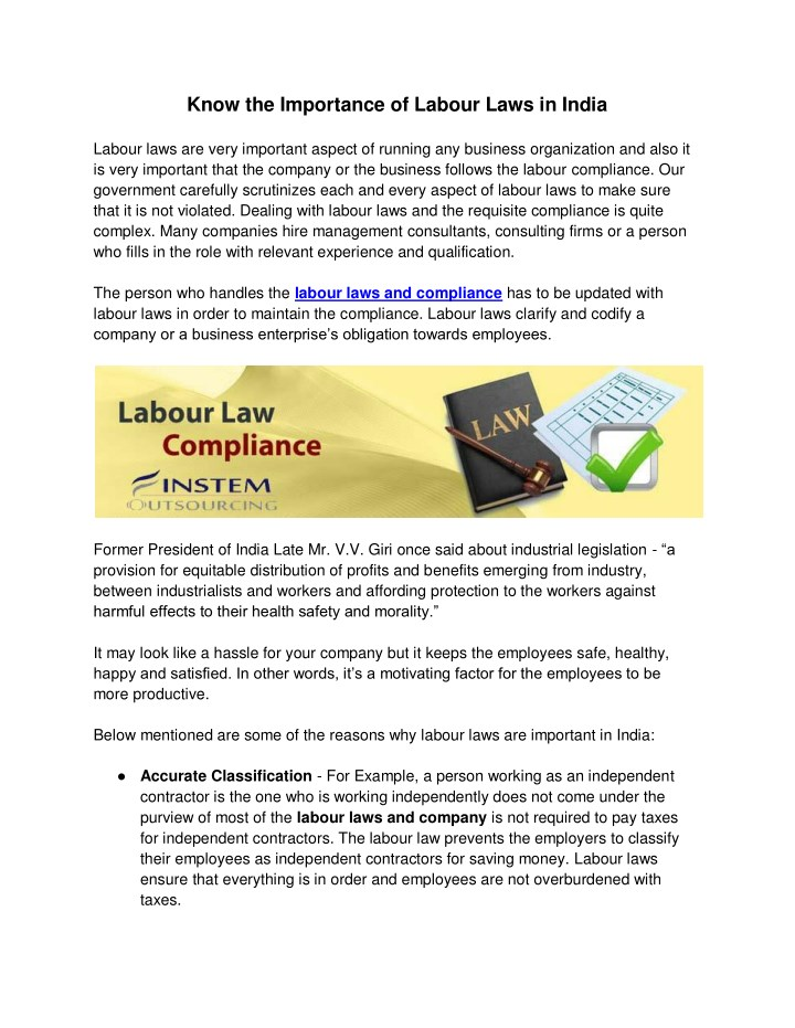 know the importance of labour laws in india n.