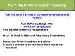 hum 186 rank successful learning 7