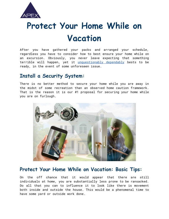 protect your home while on vacation n.