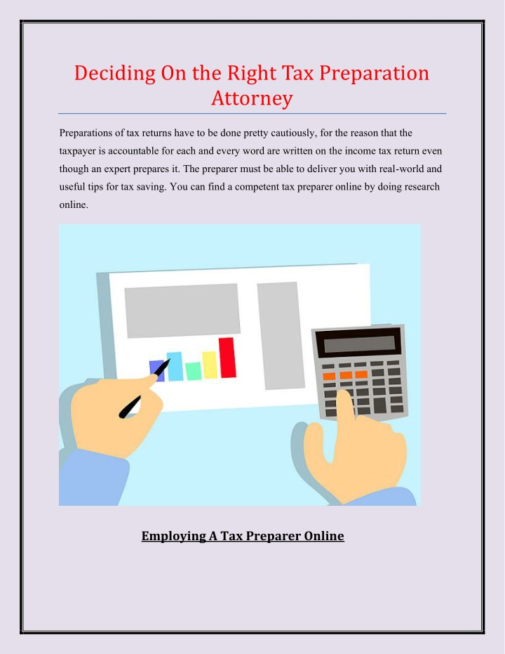 deciding on the right tax preparation attorney n.
