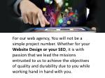 for our web agency you will not be a simple
