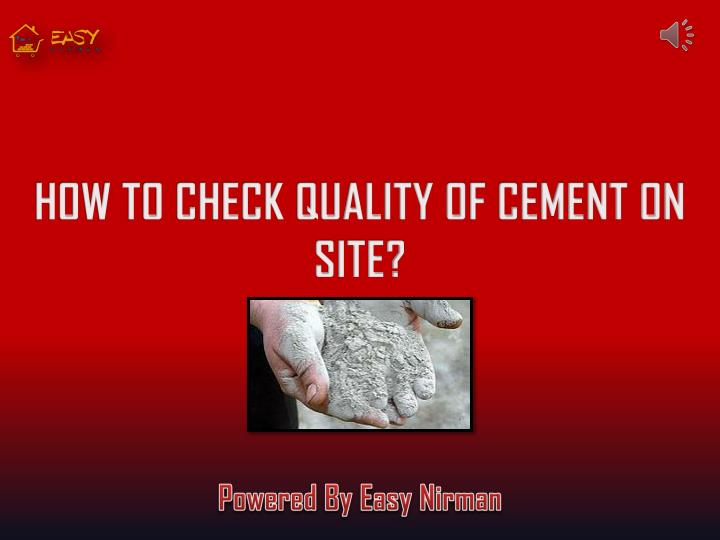 how to check quality of cement on site n.