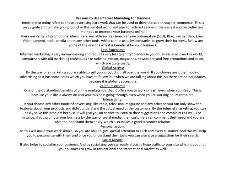 reasons to use internet marketing for business n.