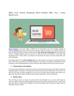 what your online shopping store should offer