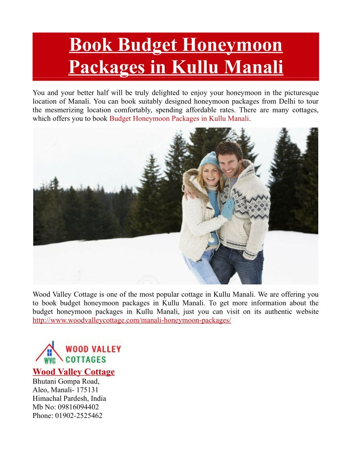 book budget honeymoon packages in kullu manali n.