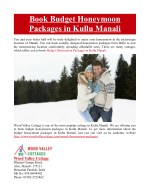 book budget honeymoon packages in kullu manali