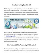 how web hosting benefits us
