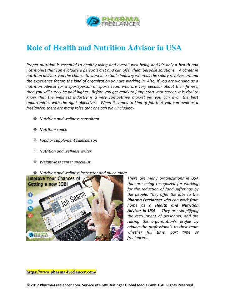 role of health and nutrition advisor in usa n.