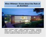 winn wittman know about the role of an architect
