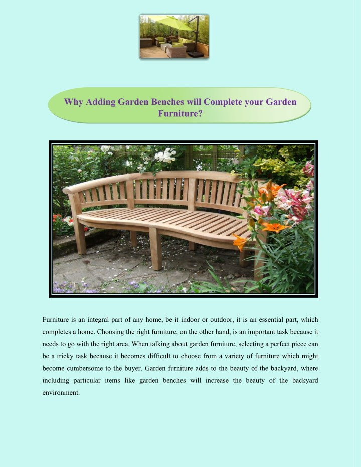 why adding garden benches will complete your n.