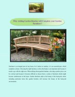 why adding garden benches will complete your