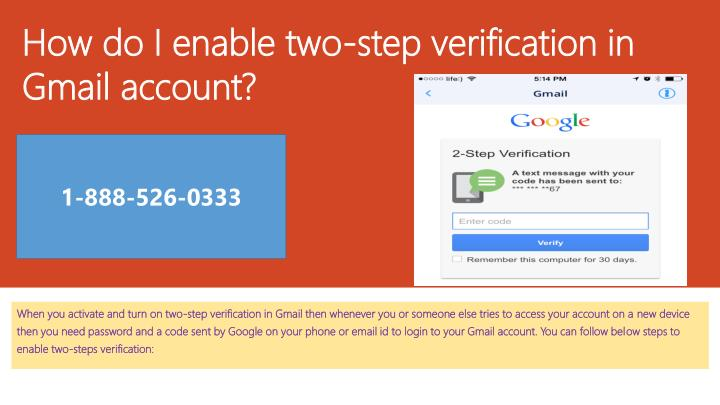 how do i enable two step verification in gmail account n.