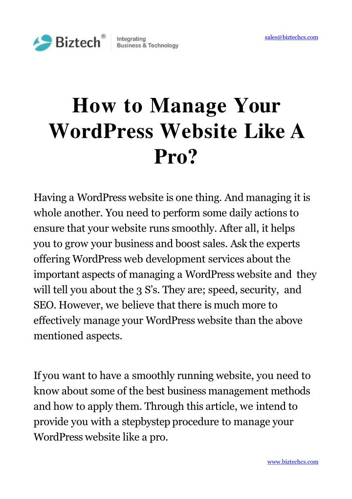 how to manage your wordpress website like a pro n.