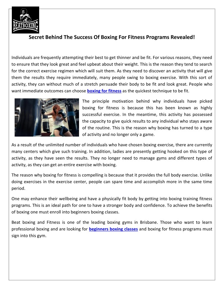 secret behind the success of boxing for fitness n.