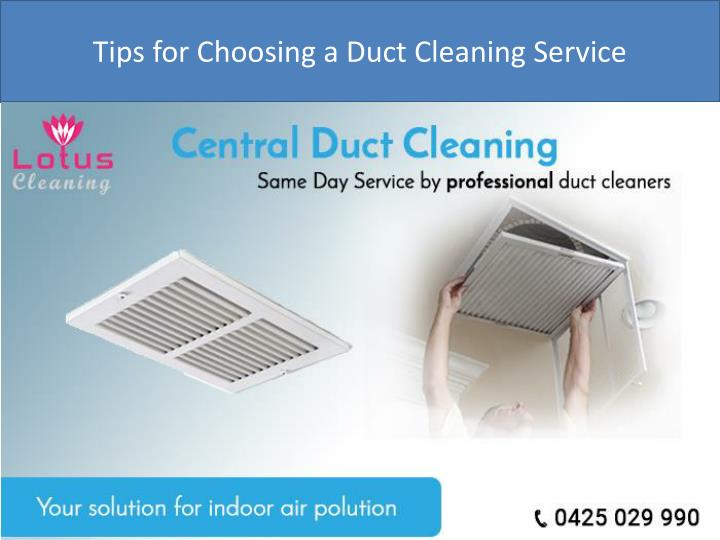 tips for choosing a duct cleaning service n.