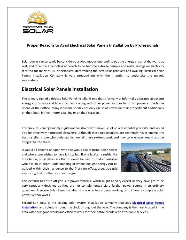 proper reasons to avail electrical solar panels n.