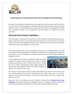 proper reasons to avail electrical solar panels