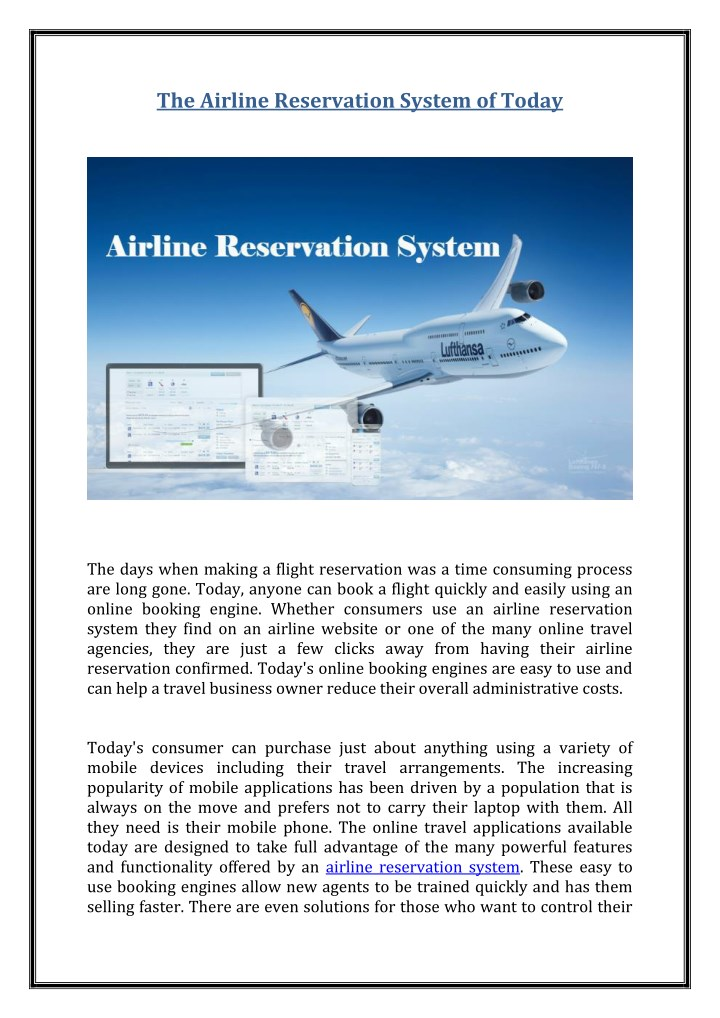 the airline reservation system of today n.