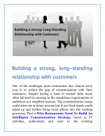 building a strong long relationship with