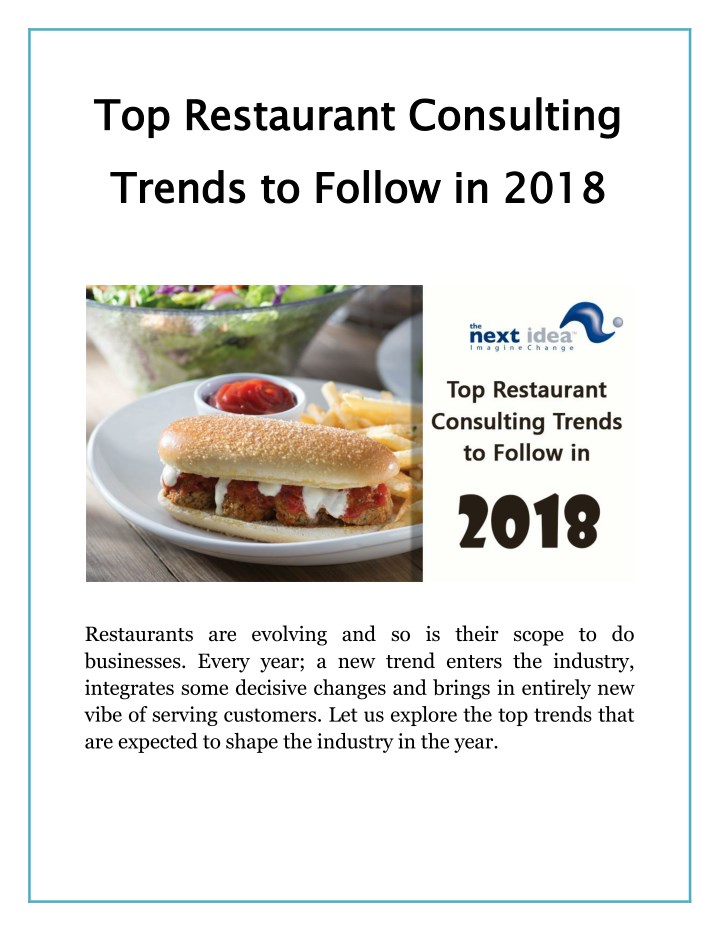 top restaurant consulting trends to follow in n.