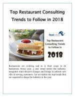 top restaurant consulting trends to follow in