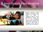 about epicure food magazine