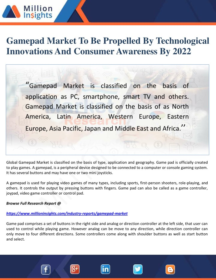 gamepad market to be propelled by technological n.