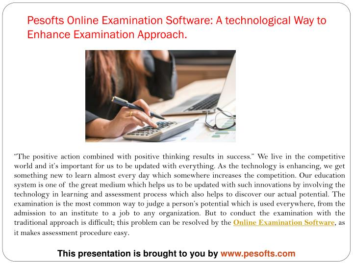 pesofts online examination software a technological way to enhance examination approach n.