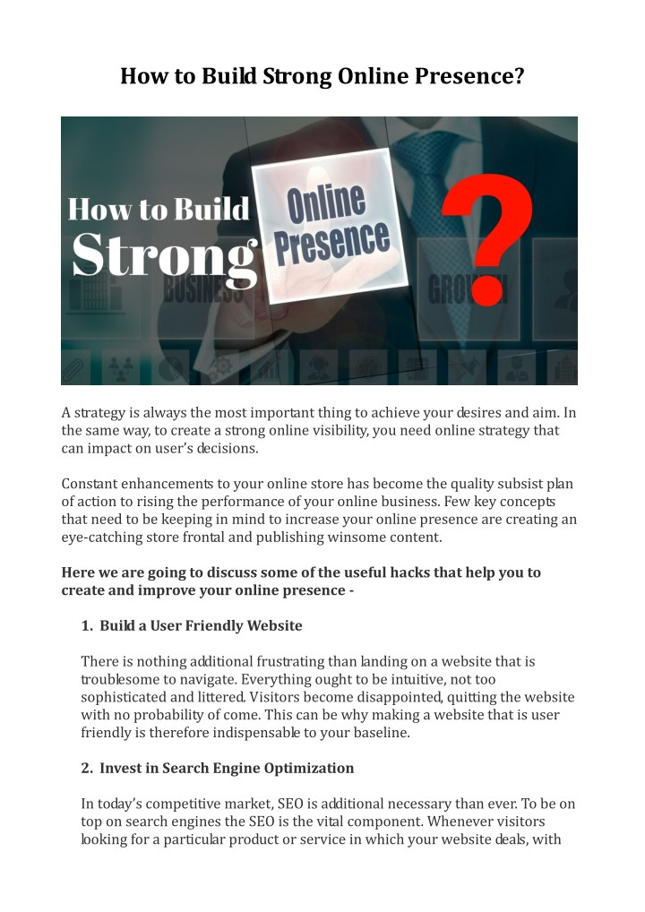 how to build strong online presence n.