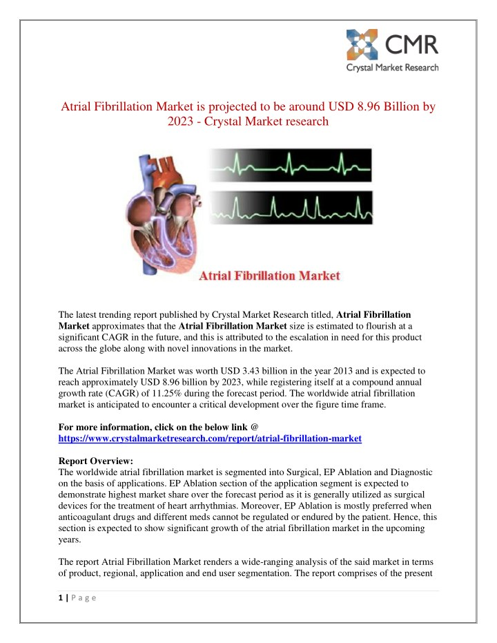 atrial fibrillation market is projected n.