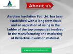 aerolam insulation pvt ltd has been established