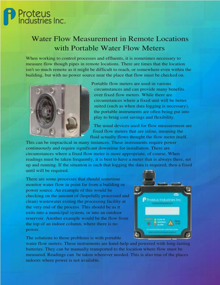 water flow measurement in remote locations with n.