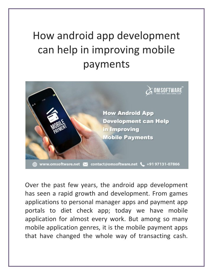 how android app development can help in improving n.