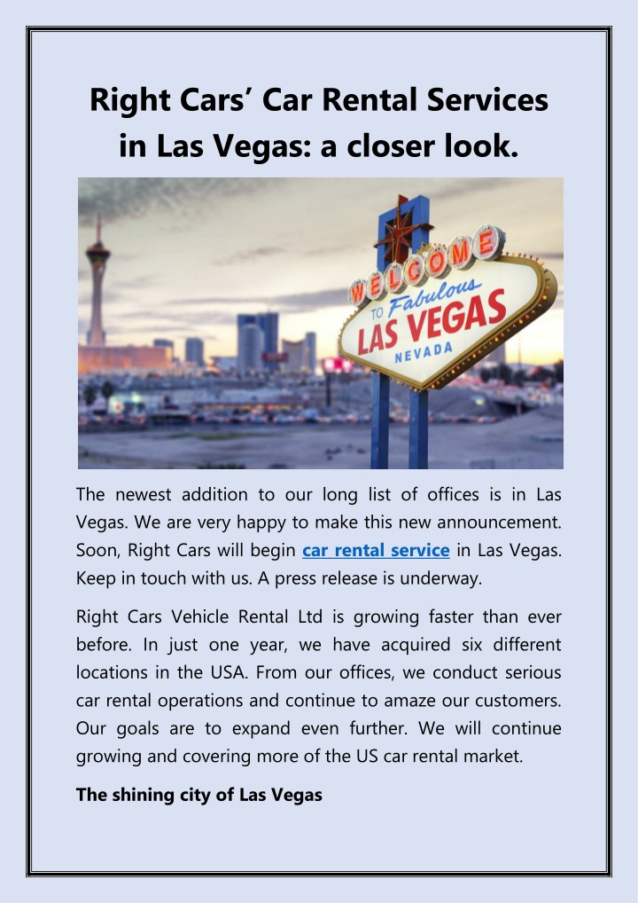 right cars car rental s ervices in las vegas n.